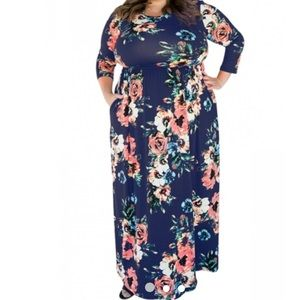 God Shield maxi dress black and red flower